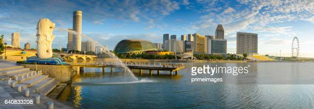 merlion park panorama - merlion park stock photos and pictures