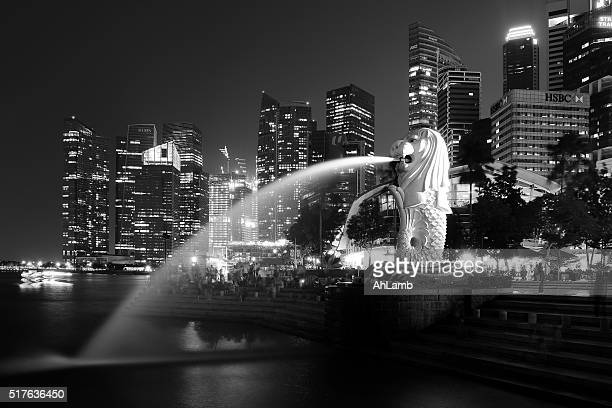 merlion statue, earth hour, singapore. - merlion park stock photos and pictures