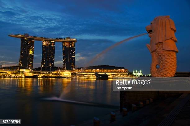 merlion statue in downtown singapore on marina bay - merlion park stock photos and pictures