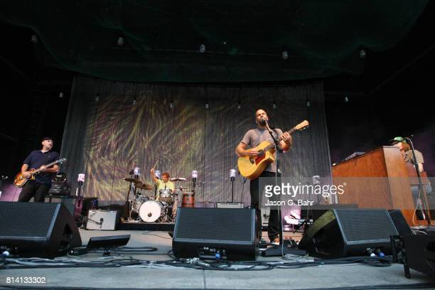 Merlo Podlewski Adam Topol Jack Johnson and Zach Gill perform at Fiddler's Green Amphitheatre on July 13 2017 in Englewood Colorado