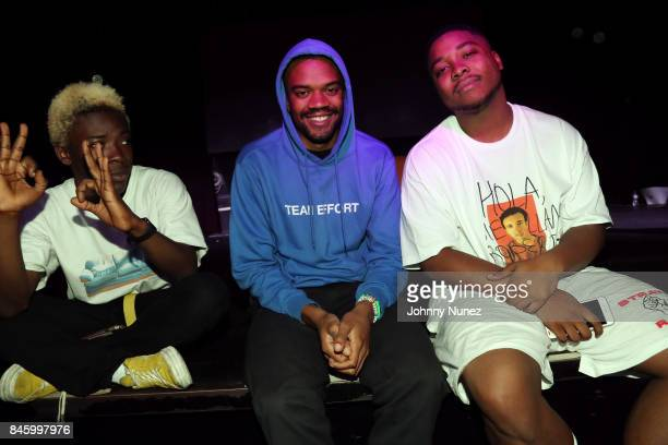 Merlyn Wood Ameer Vann and Dom McLennon of BrockHampton backstage at Highline Ballroom on September 11 2017 in New York City