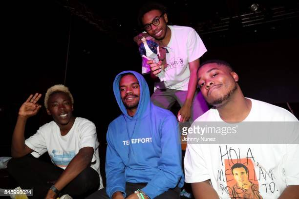 Merlyn Wood Ameer Vann Kevin Abstract and Dom McLennon of BrockHampton backstage at Highline Ballroom on September 11 2017 in New York City