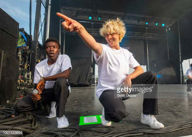 Merlyn Wood and Russell 'Joba' Boring of Brockhampton perform during day 2 of Mo Pop Festival at West Riverfront Park on July 29 2018 in Detroit...