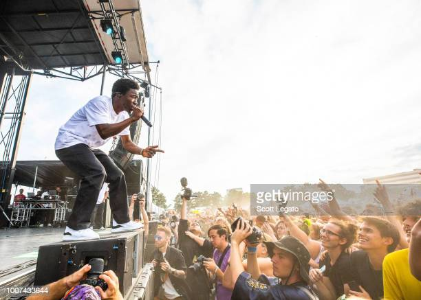 Merlyn Wood of Brockhampton performs during day 2 of Mo Pop Festival at West Riverfront Park on July 29 2018 in Detroit Michigan