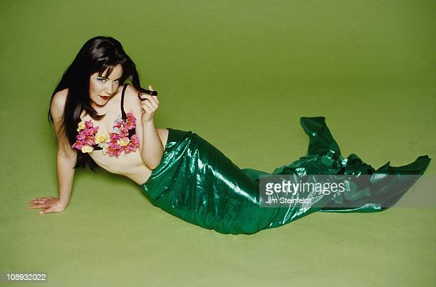 Mermaid against a green background in Los Angeles California on January 11 1999
