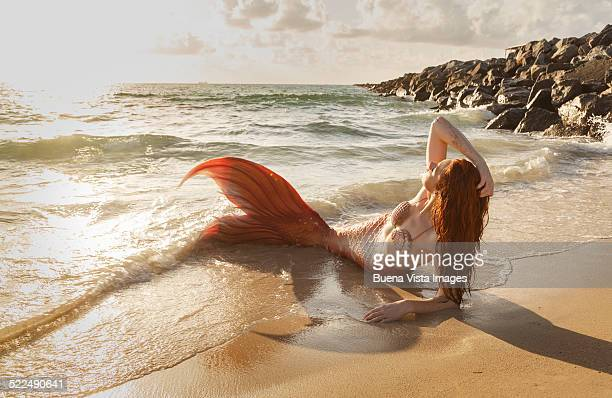 Mermaid on the beach at sunset