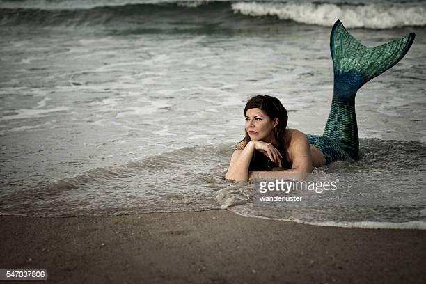 Mermaid resting in shallow waters