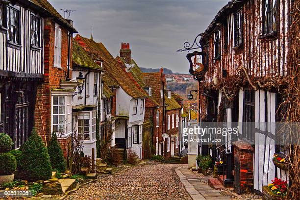 mermaid street, rye, east sussex, uk - rye stock photos and pictures