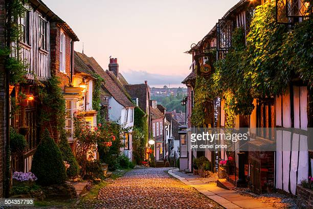 mermaid street, rye, sussex, england - sussex stock pictures, royalty-free photos & images