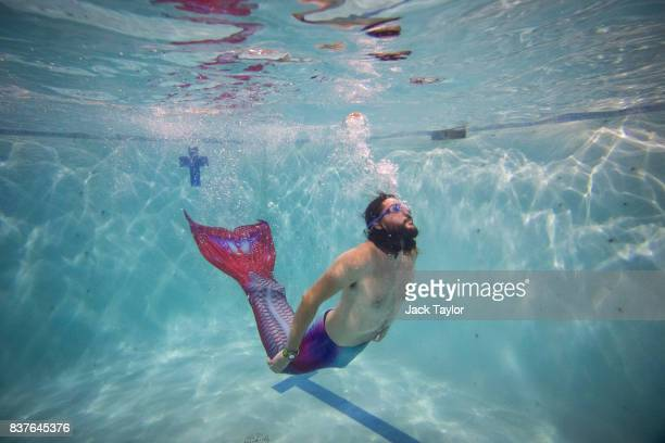 Mermaiding student Tom Hatcher swims during a Mayim Mermaid Academy lesson at the swimming pool at Bournemouth Collegiate School on August 19 2017 in...
