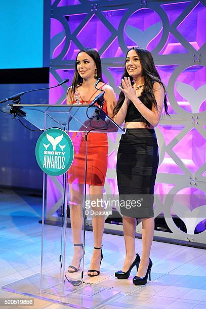 Merrell Twins accept the award for YouNower of the Year at The 8th Annual Shorty Awards at The Times Center on April 11 2016 in New York City