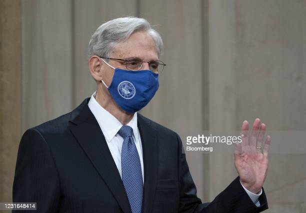 Merrick Garland, U.S. Attorney general, arrives to speak at the Department of Justice in Washington, D.C., U.S., on Thursday, March 11, 2021. The...