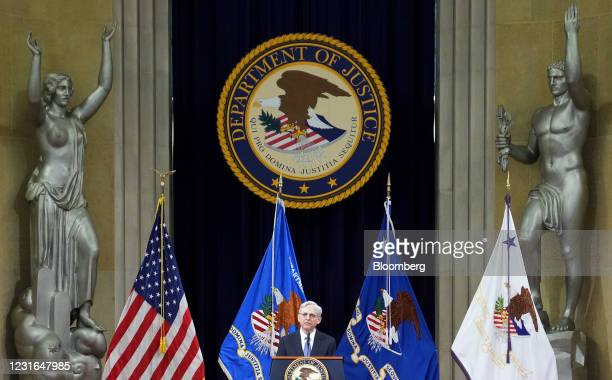 Merrick Garland, U.S. Attorney general, speaks at the Department of Justice in Washington, D.C., U.S., on Thursday, March 11, 2021. The Senate...