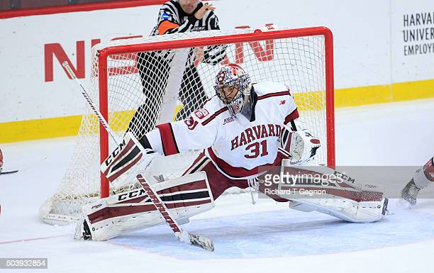 Merrick Madsen of the Harvard Crimson makes a save against the Boston University Terriers during NCAA hockey at The Bright-Landry Hockey Center on...