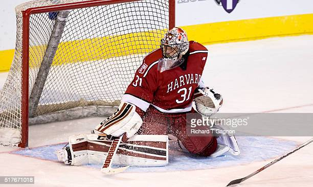 Merrick Madsen of the Harvard Crimson makes a save against the Boston College Eagles during game two of the NCAA Division I Men's Ice Hockey...