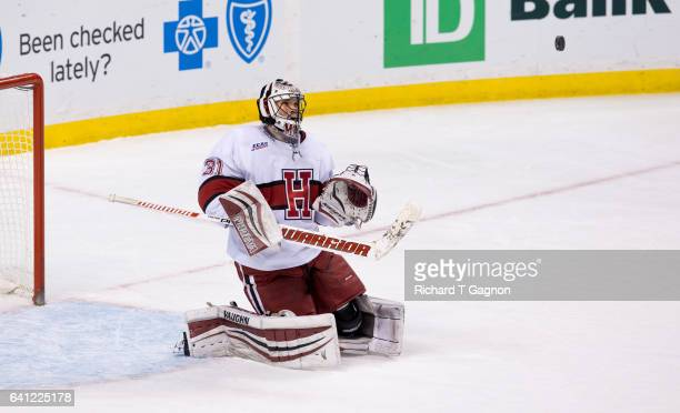 Merrick Madsen of the Harvard Crimson makes a save against the Northeastern Huskies during NCAA hockey in the semifinals of the annual Beanpot Hockey...