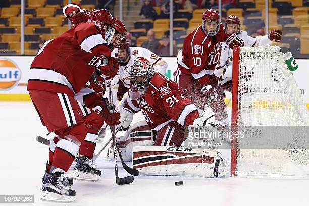 Merrick Madsen of the Harvard Crimson makes a save during the first period against the Boston College Eagles at TD Garden on February 1, 2016 in...