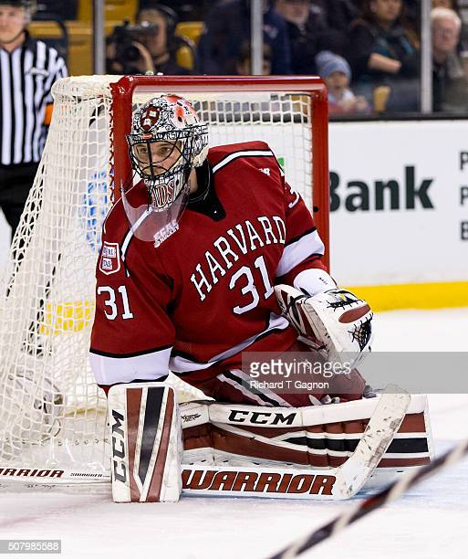 Merrick Madsen of the Harvard Crimson tends goal against the Boston College Eagles during NCAA hockey in the semifinals of the annual Beanpot Hockey...