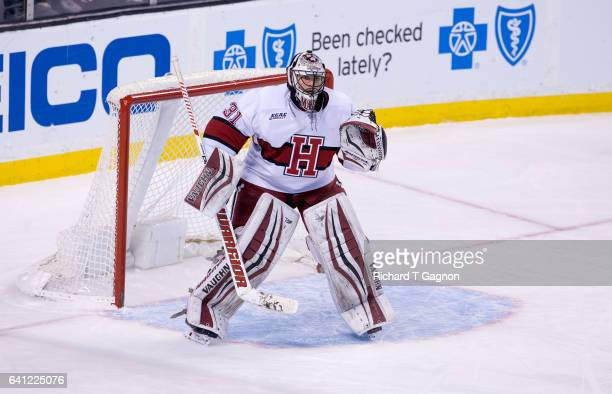 Merrick Madsen of the Harvard Crimson tends goal during NCAA hockey against the Northeastern Huskies in the semifinals of the annual Beanpot Hockey...