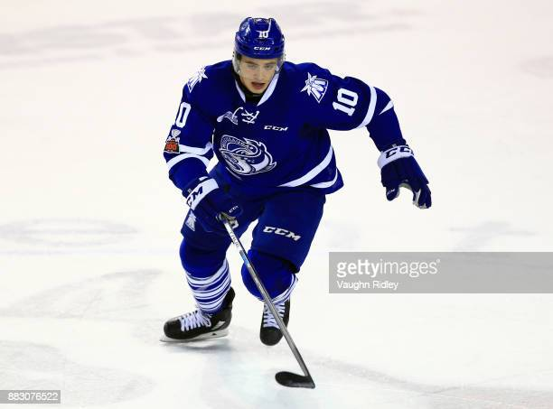 Merrick Rippon of the Mississauga Steelheads skates during an OHL game against the Niagara IceDogs at the Meridian Centre on November 25 2017 in St...