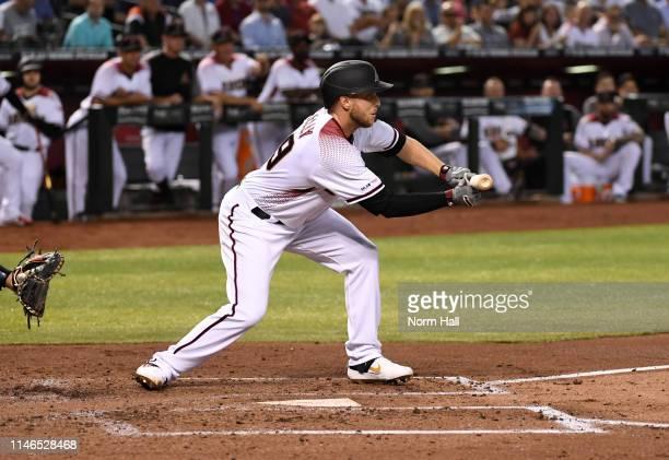 Merrill Kelly of the Arizona Diamondbacks attempts a bunt against the New York Yankees at Chase Field on May 01 2019 in Phoenix Arizona