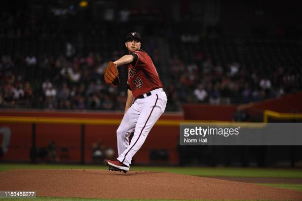 Merrill Kelly of the Arizona Diamondbacks delivers a first inning pitch against the New York Mets at Chase Field on June 02 2019 in Phoenix Arizona