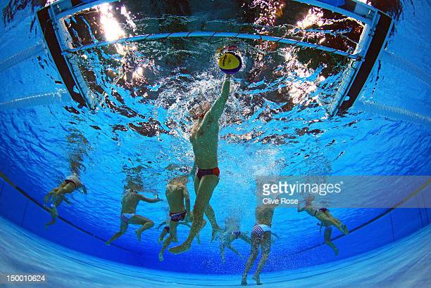 Merrill Moses of the United States retrieves the ball in the Men's Water Polo Quarterfinal match between Croatia and the United States on Day 12 of...