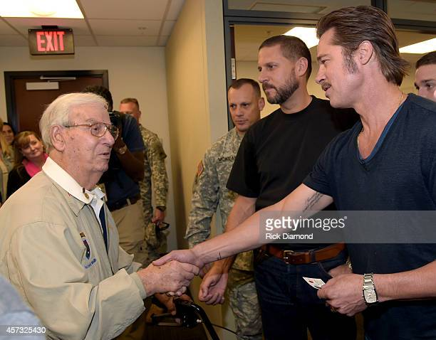 """Merrill's Marauders survivor 96 years old Ranger Vincent Melillo with Director/Writer David Ayer and Actor Brad Pitt during """"Fury"""" - Fort Benning..."""