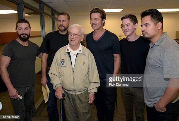 Merrill's Marauders survivor 96 years old Ranger Vincent Melillo with Actor Shia LaBeouf, Writer/Director David Ayer, Actors Brad Pitt, Logan Lerman...
