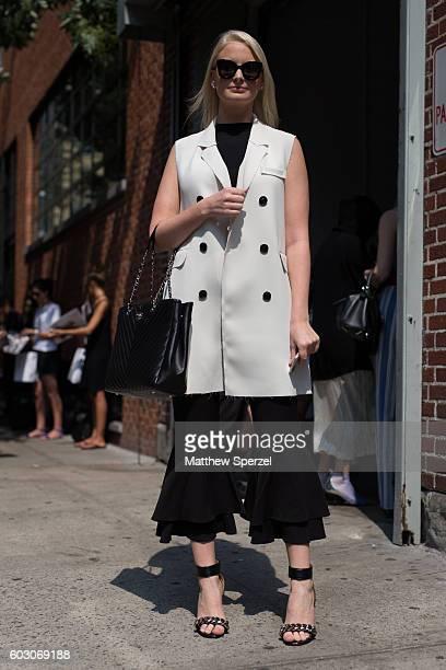 Merritt Beck is seen attending Tibi during New York Fashion Week on September 10 2016 in New York City