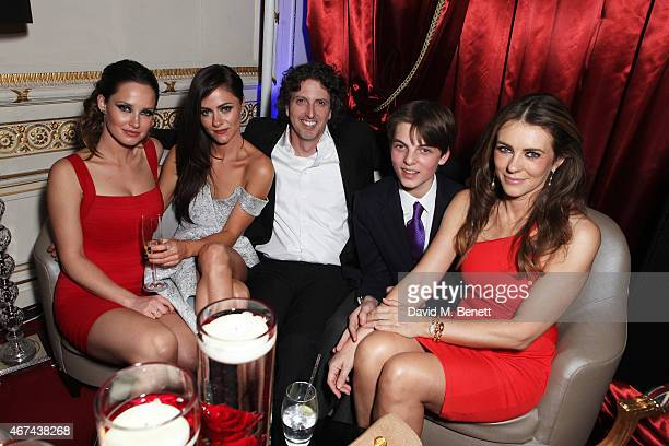 Merritt Patterson Alexandra Park Mark Schwahn Damien Hurley and Elizabeth Hurley attend the 'The Royals' UK premiere party at the Mandarin Oriental...
