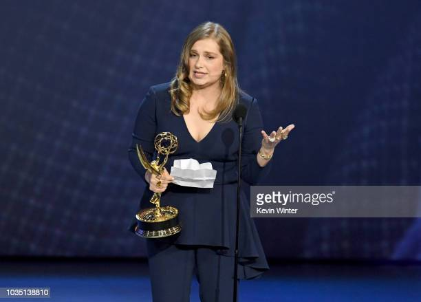 Merritt Wever accepts the Outstanding Supporting Actress in a Limited Series or Movie for 'Godless' onstage during the 70th Emmy Awards at Microsoft...