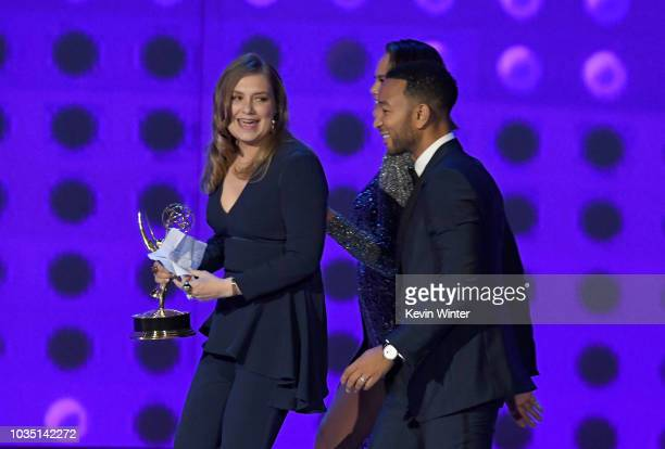 Merritt Wever accepts the Outstanding Supporting Actress in a Limited Series or Movie for 'Godless' from Chrissy Teigen and John Legend onstage...