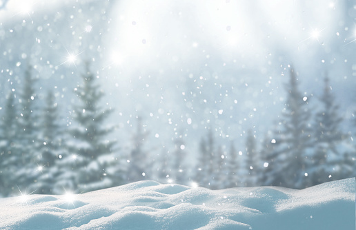 Merry christmas and happy new year greeting background with copy-space.Beautiful winter landscape with snow covered trees. 1068512816