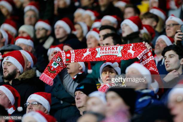"""Merry Christmas"""" club scarf is displayed by a Southampton fan during the Premier League match between Huddersfield Town and Southampton FC at John..."""