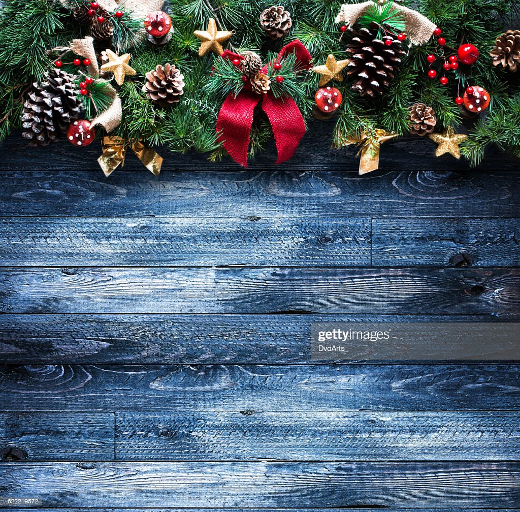 Merry Christmas Frame With Real Wood Green Pine Colorful Baubles ...
