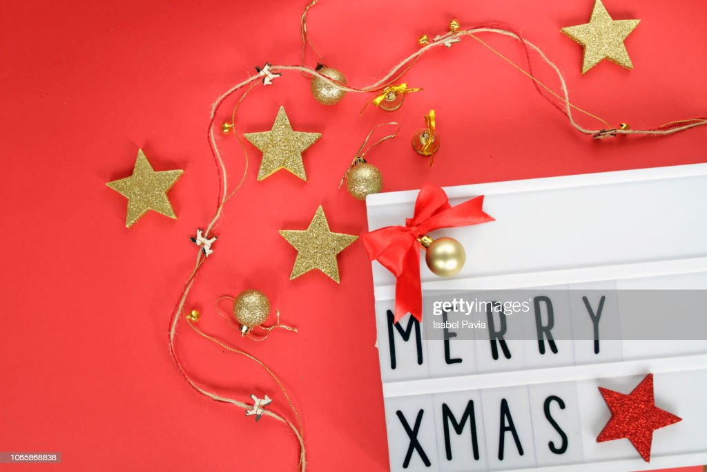 Merry Christmas Message In Light Box Stock Photo | Getty Images