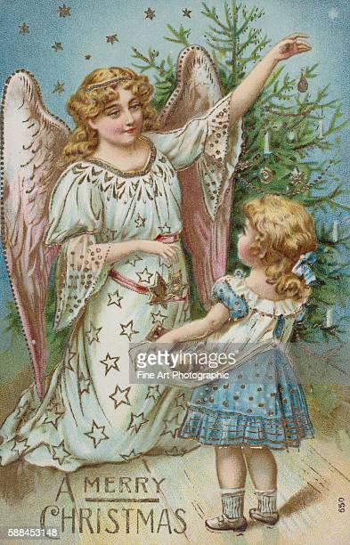 A Merry Christmas Postcard with an Angel and Little Girl