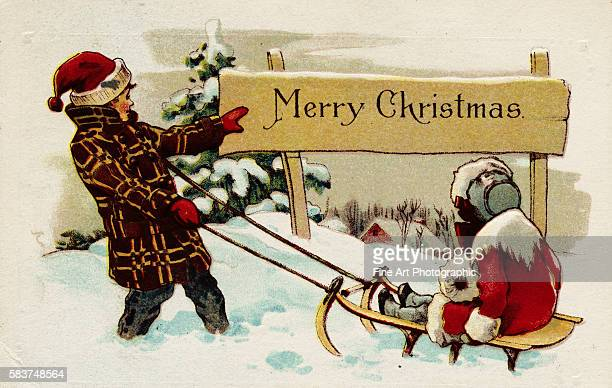 Merry Christmas Postcard with Children Sledding