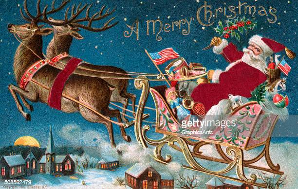 pictures of santa and his sleigh vintage santa sleigh stock photos and pictures getty images 7139