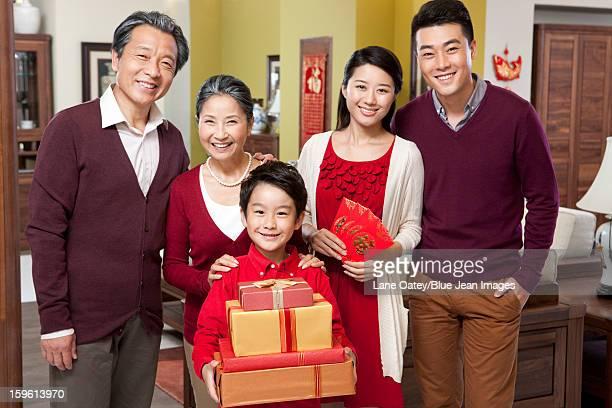 Merry family celebrating Chinese New Year