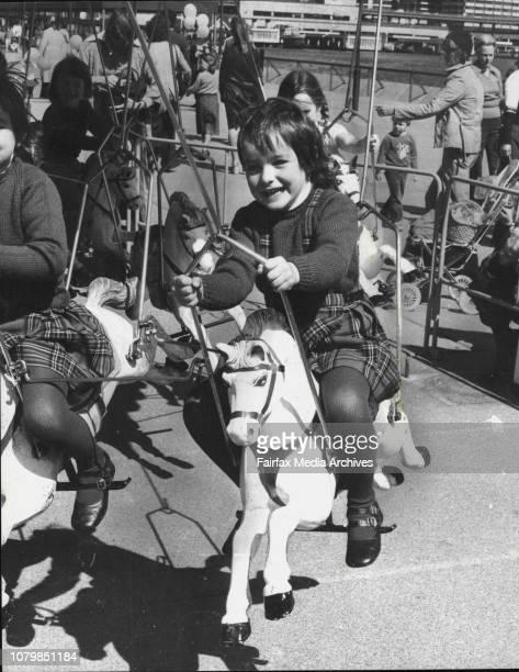 Merry go round Amanda Stone 5 of St IvesScene of Sydney Opera House School Holiday Fair August 25 1983