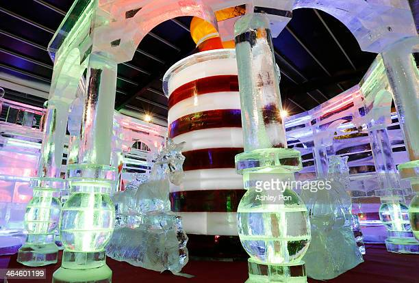 """Merry-go-round ice sculpture is displayed at """"Fantasy Ice World"""" on January 23, 2014 in Taipei, Taiwan. Ice sculptors from the famous Harbin Ice..."""