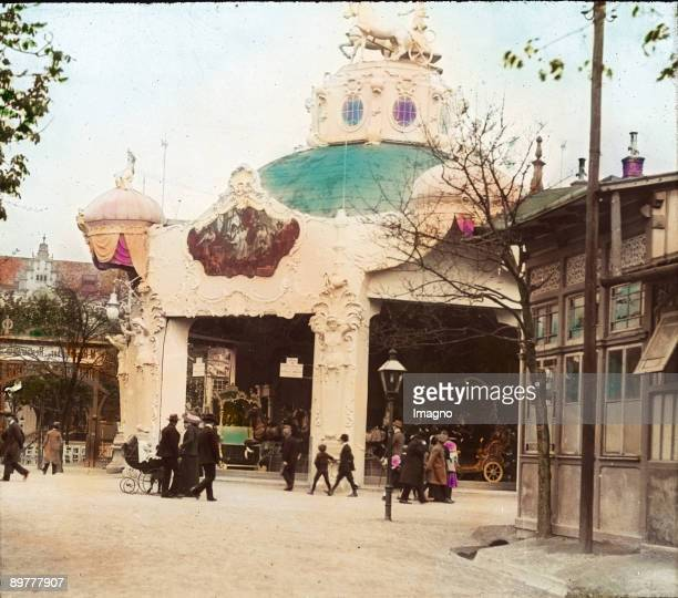 A merrygoround Viennese Volksprater Vienna 2nd district Handcolored lantern slide Around 19051910