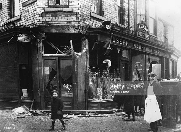 Merryweather's, a shop in Scarborough boarded up as a result of a bombardment of the town by German battlecruisers on 16th December. Seventeen people...