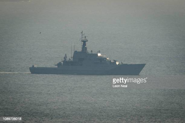 Mersey is seen in the English Channel after being deployed by the Ministry of Defence to assist in searching the area for migrant boats on January 04...