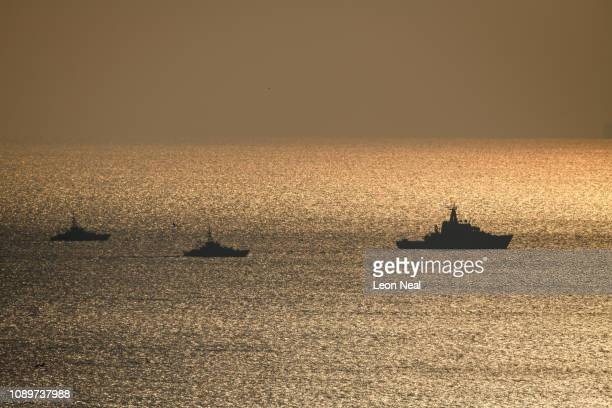 Mersey is seen travelling in convoy with two Border Force Cutters in the English Channel after being deployed by the Ministry of Defence to assist in...