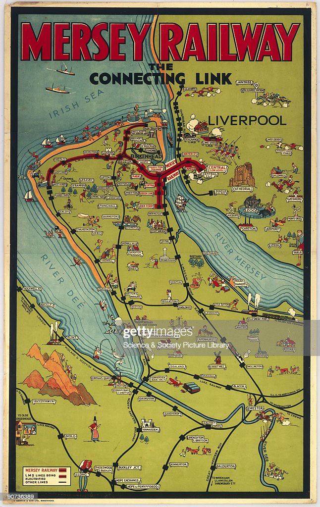 Mersey Rail - The Connecting Link', Mersey Railway poster ... on