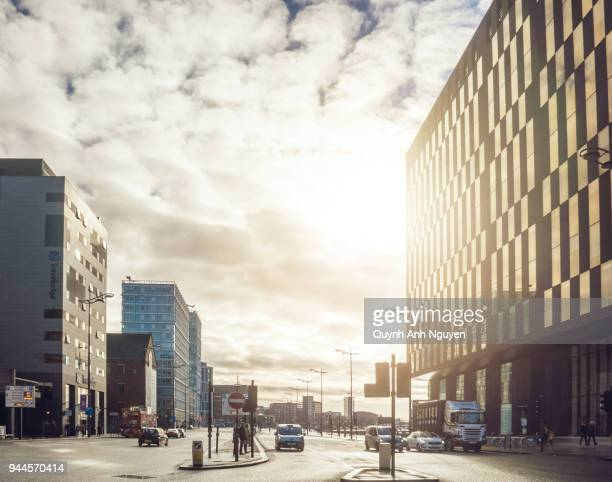 uk, merseyside, liverpool: mann island building from strand st - merseyside stock pictures, royalty-free photos & images