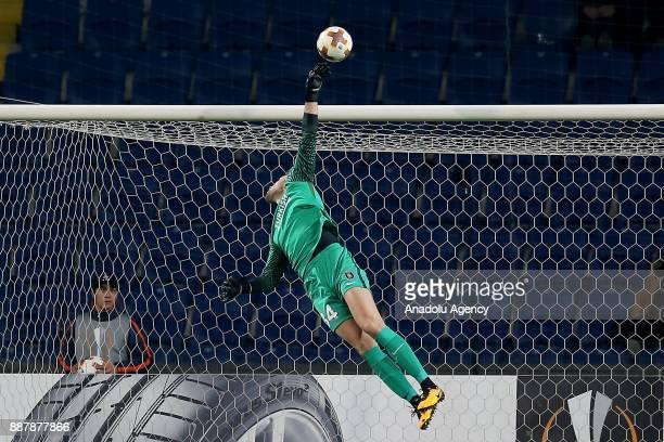 Mert Gunok of Medipol Basaksehir in action during UEFA Europa League Group C soccer match between Medipol Basaksehir and Braga at the Fatih Terim...